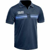 Polo Police Municipale Bleu à manches courtes de face